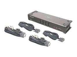 IOGEAR 4-Port DVI KVMP Switch with Cables, GCS1104, 10539552, KVM Switches