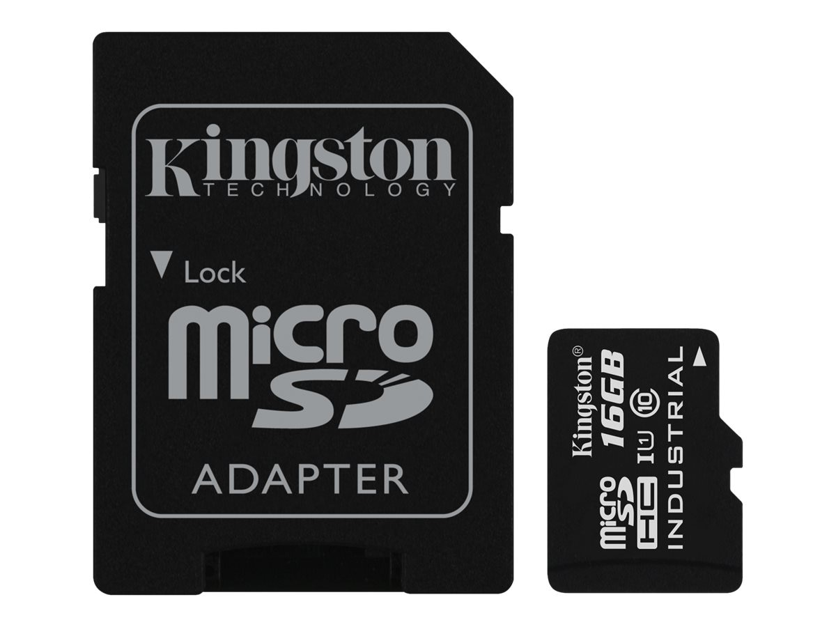 Kingston 16GB Industrial microSDHC UHS-I Flash Memory Card with SD Adapter, Class 10, SDCIT/16GB
