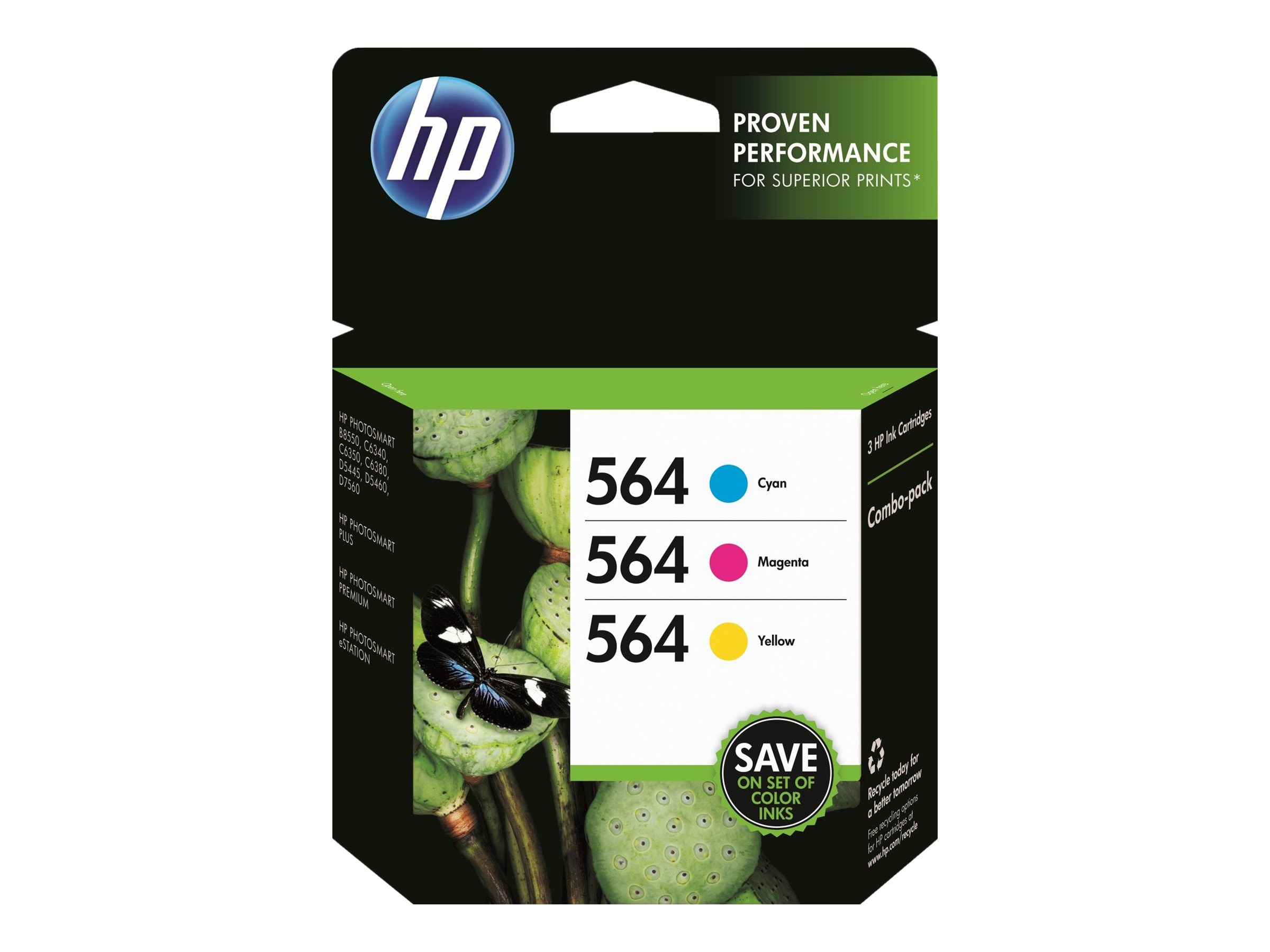 HP 564 (N9H57FN) Cyan Magenta Yellow Original Ink Cartridge Combo Pack