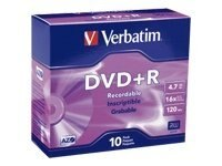 Verbatim 16x 4.7GB Branded DVD+R Media (10-pack Slim Cases), 95097, 5870494, DVD Media