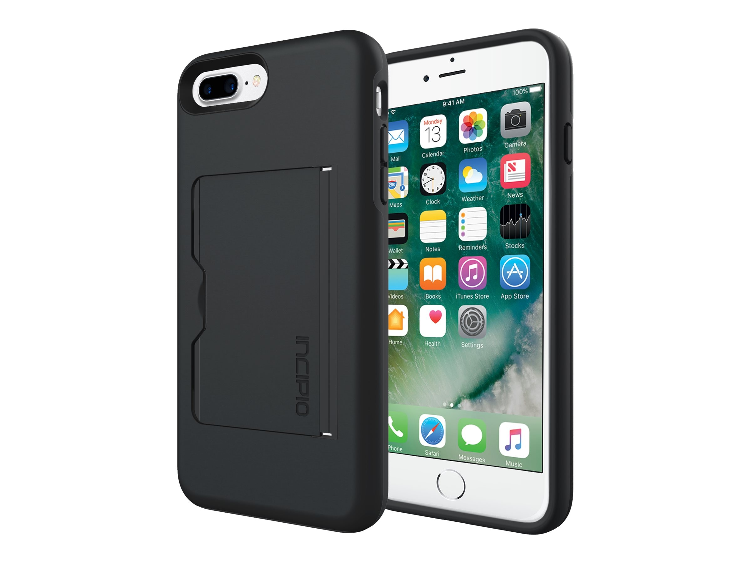 Incipio Stowaway Credit Card Case with Integrated Stand for iPhone 7 Plus, Black Black, IPH-1503-BLK