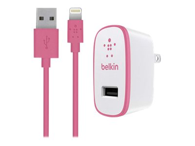 Belkin Home Charger w  Lightning Cable for iPad 10 Watt 2.1 Amp, Pink, F8J052TT04-PNK