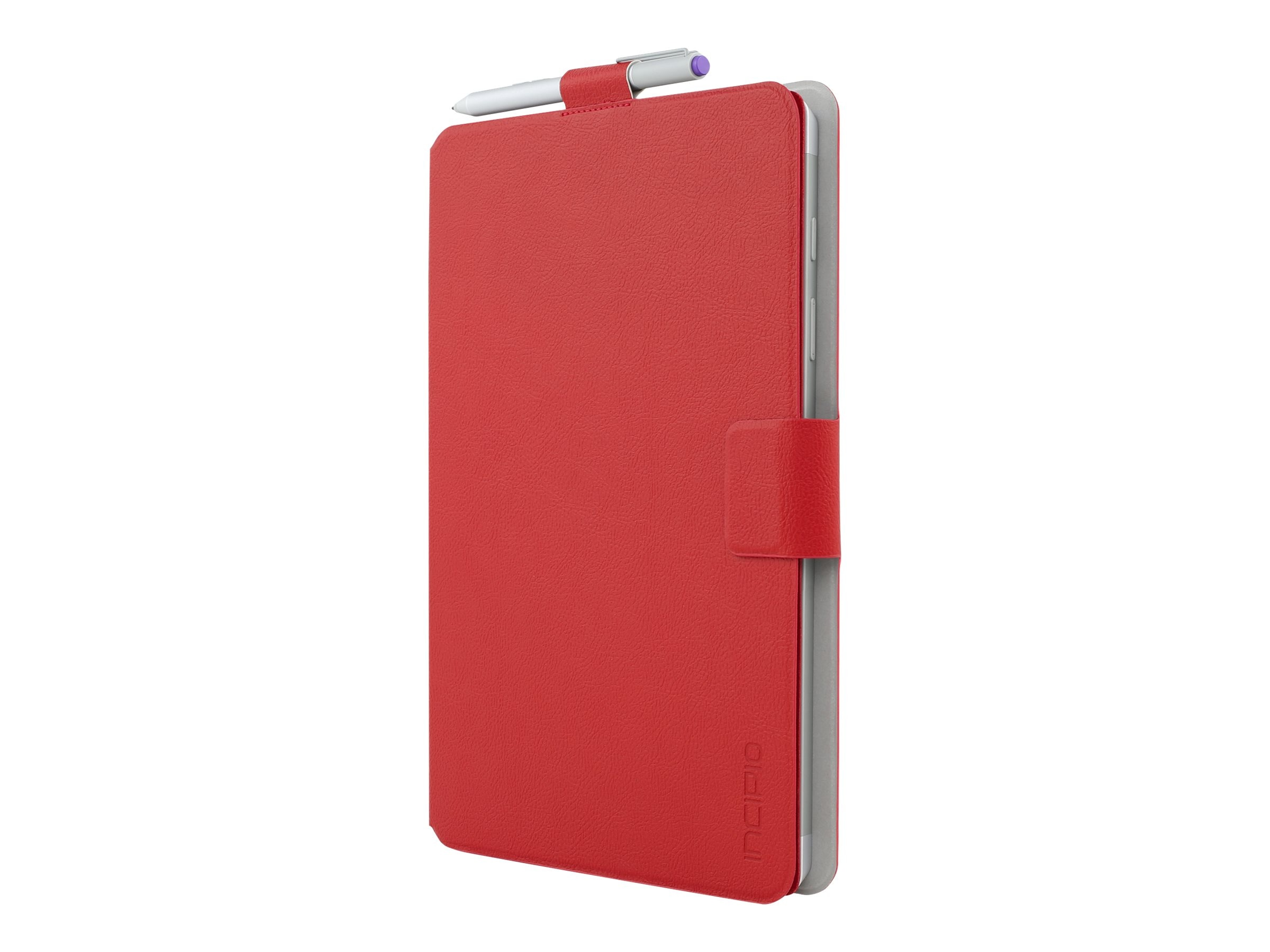 Incipio Roosevelt Slim Folio w  Snap-On Type Cover Compatibility for Microsoft Surface 3, Red