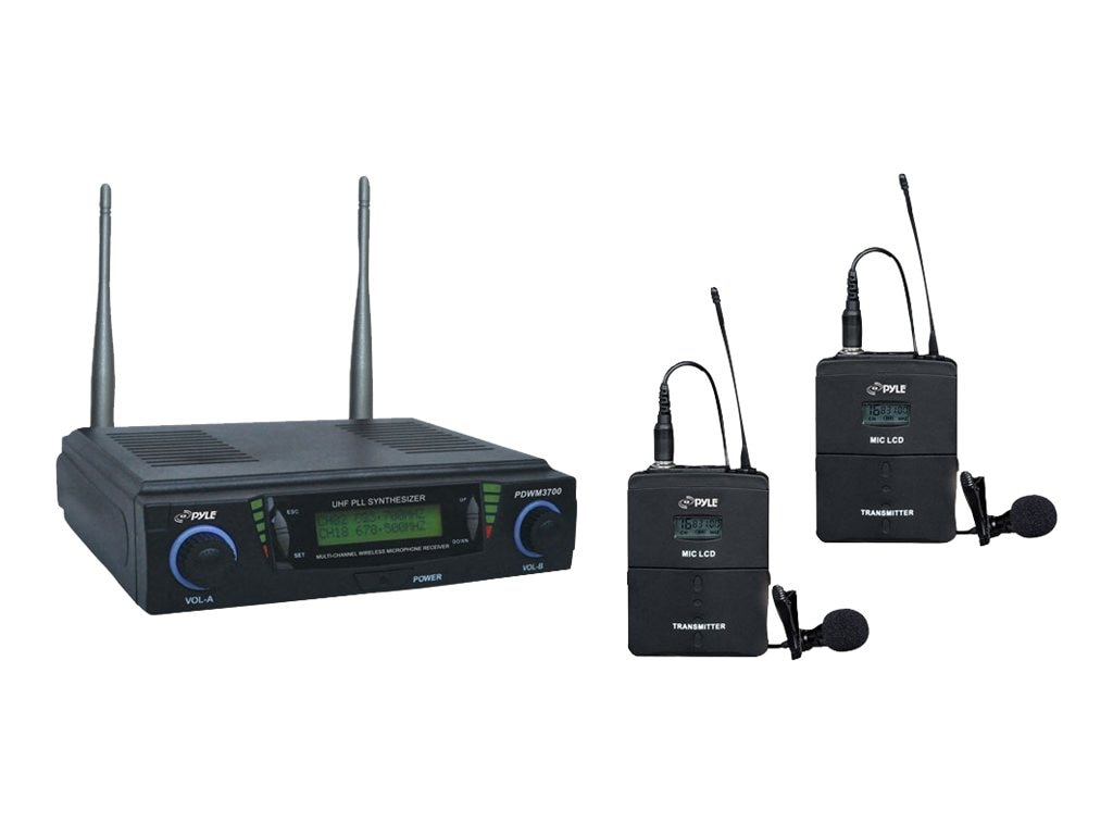 Pyle Pro UHF Wireless Mic Dual Channel System w  2 Adjustable Frequencies, PDWM3700