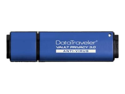 Kingston 8GB DataTraveler Vault Privacy 3.0 Flash Drive, Blue with Anti-Virus Protection