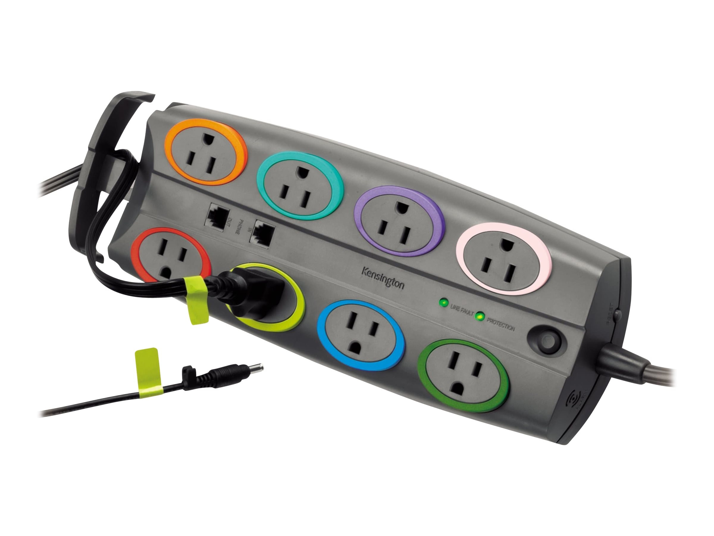 Kensington SmartSockets Standard Surge Protector, 2490 Joules, (8) Outlets, 8ft Cord, Phone Line Protection, K62690NA, 18017450, Surge Suppressors