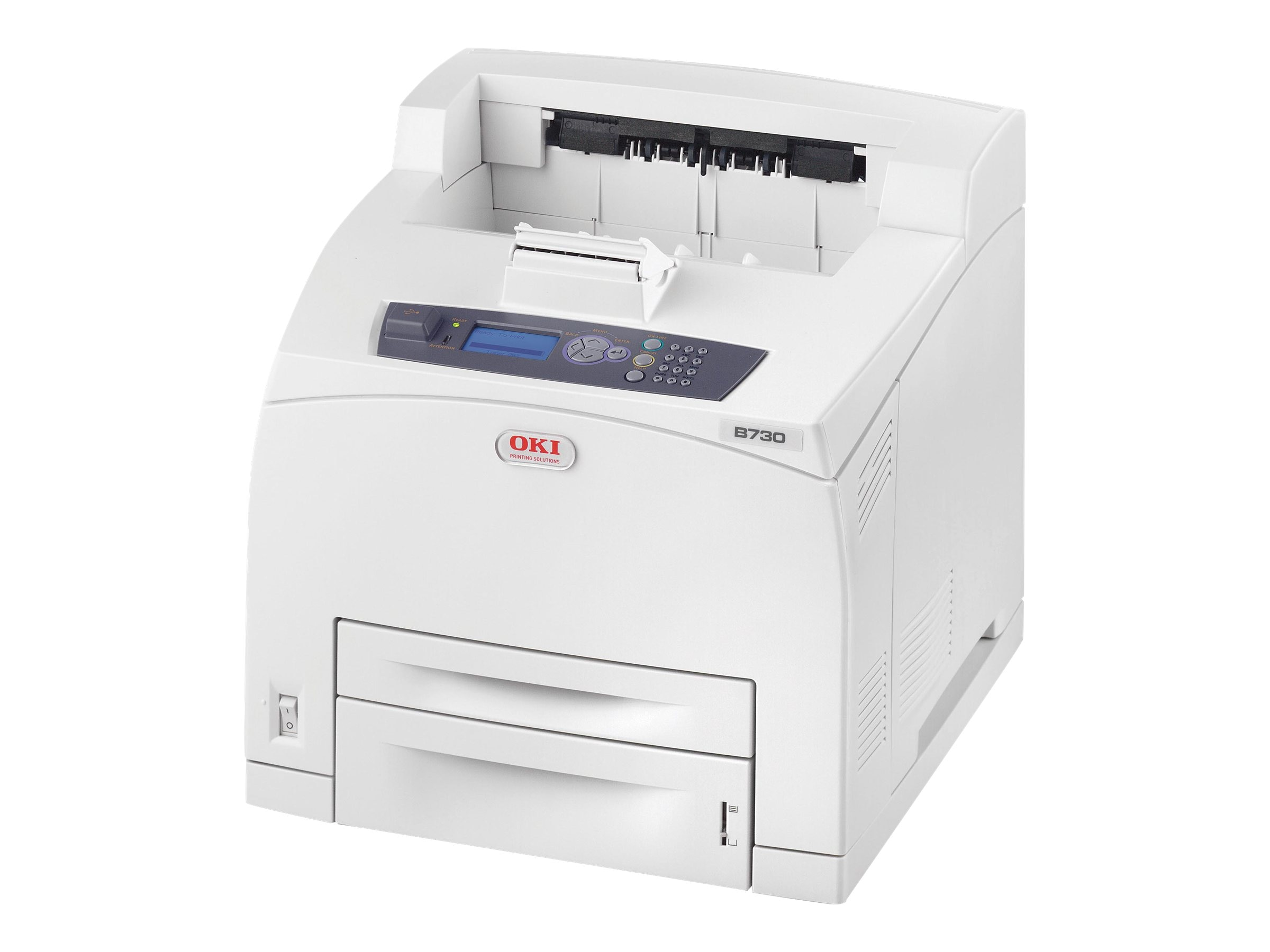 Oki B730dn Monochrome Laser Printer w  Additional Tray & 1-Year Onsite Warranty for NYS