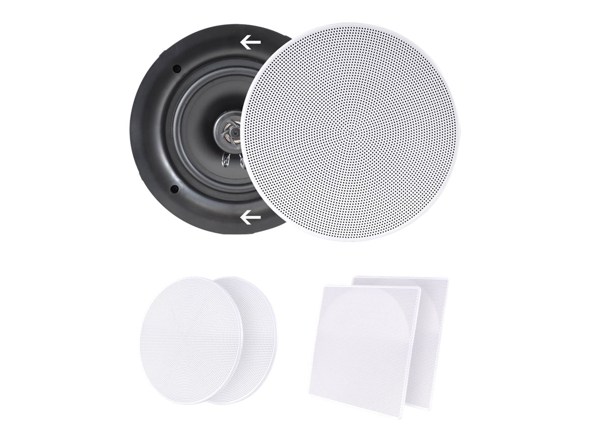 Pyle 8 250W White In-Wall In-Ceiling Dual Stereo Speakers