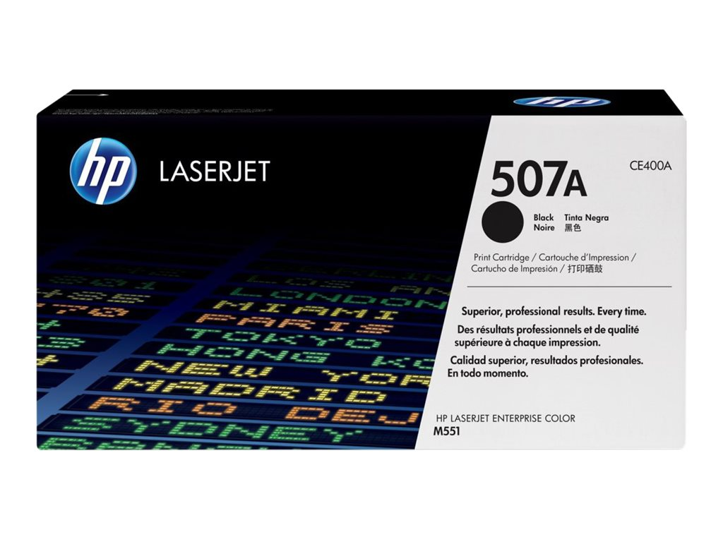 HP 507A (CE400A) Black Original LaserJet Toner Cartridge, CE400A, 13170156, Toner and Imaging Components
