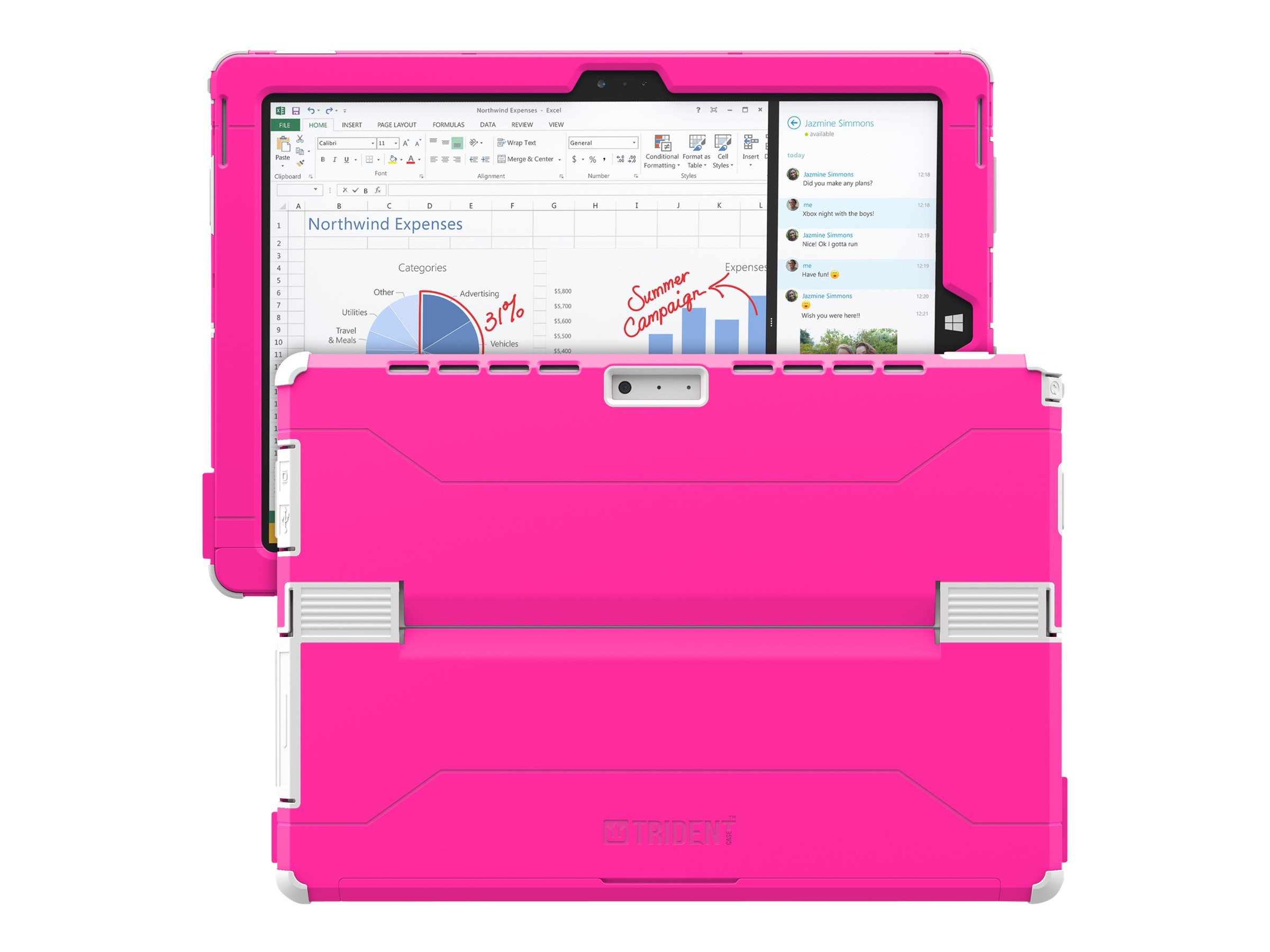Trident Case Cyclops 2014 Case for Microsoft Surface Pro 3, Pink, CY-MSSFP3-PK000, 18531900, Carrying Cases - Tablets & eReaders