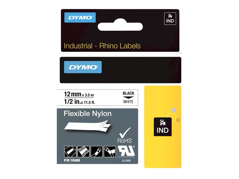 DYMO .5 x 11.5' Flexible Industrial Strength Nylon Tape, 18488