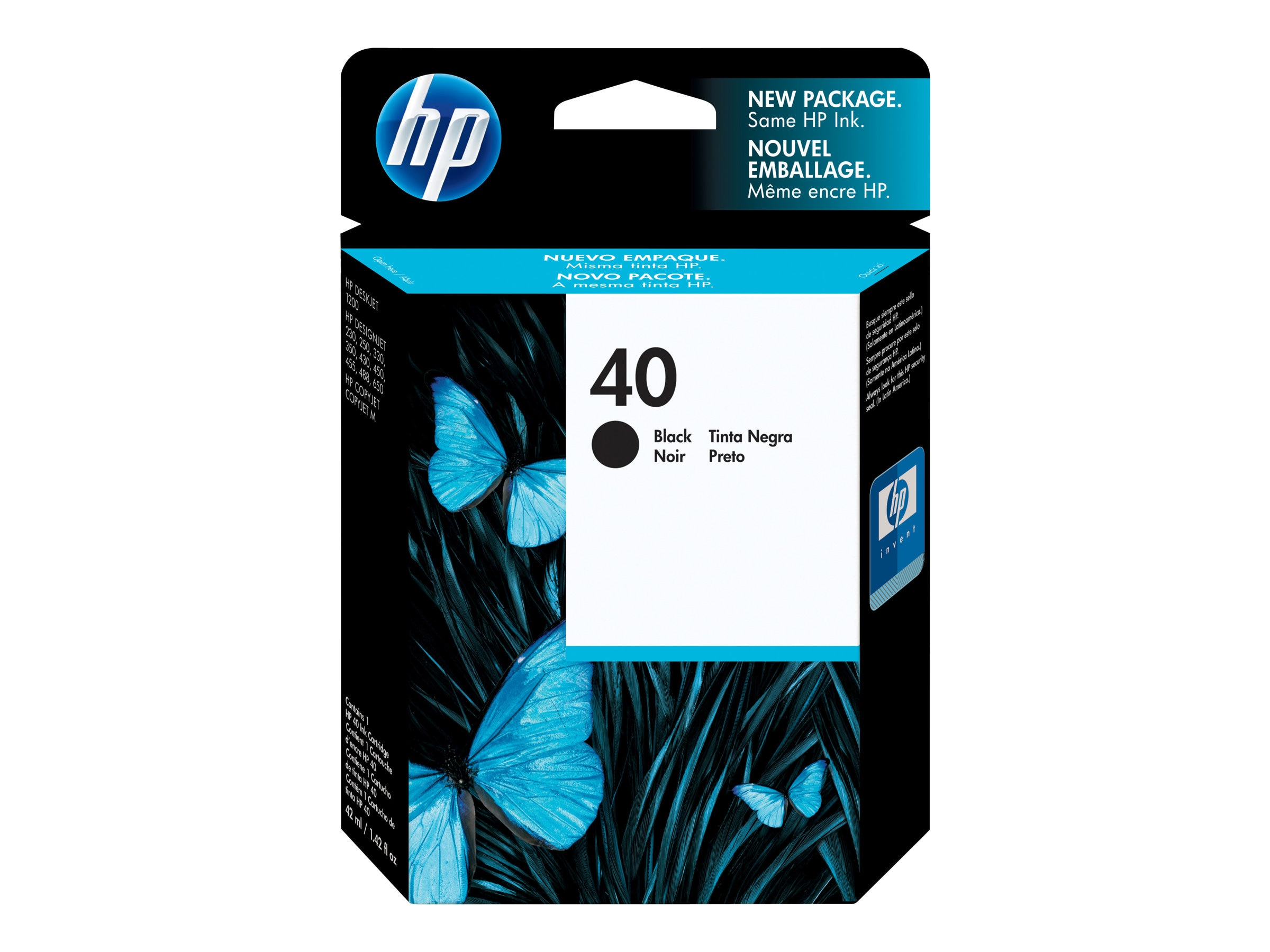 HP 40 (51640A) Black Original Ink Cartridge, 51640A, 26647, Ink Cartridges & Ink Refill Kits