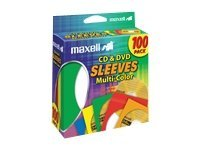 Maxell Multi-Color CD DVD Sleeves (100-pack), 190132, 9734377, Media Storage Cases