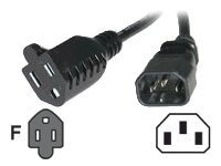 C2G Monitor Power Adapter Cable NEMA 5-15R to IEC320 C14, 18AWG, 6ft