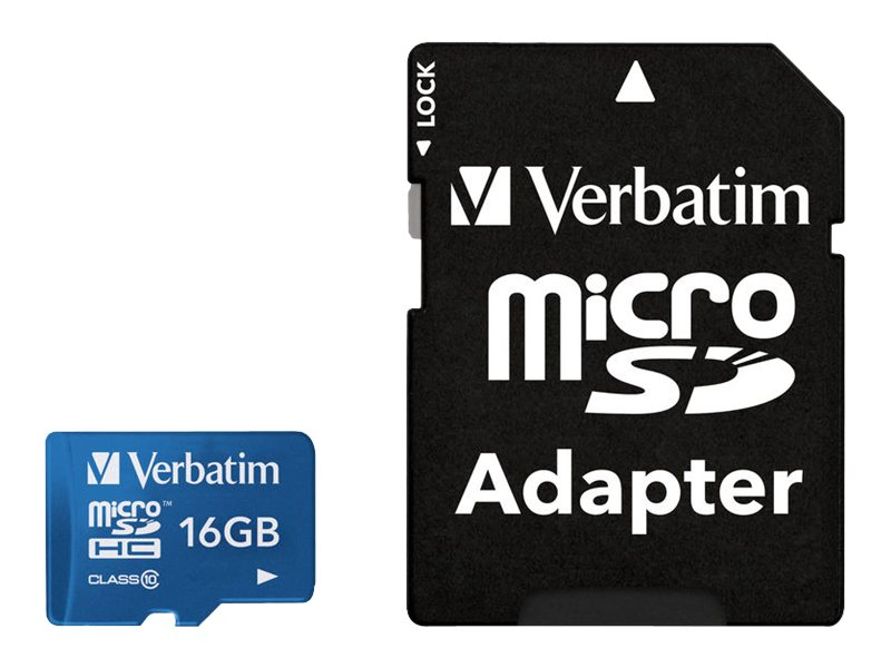 Verbatim 16GB MicroSDHC Flash Memory Card, Class 10, Blue, 44043, 17366439, Memory - Flash