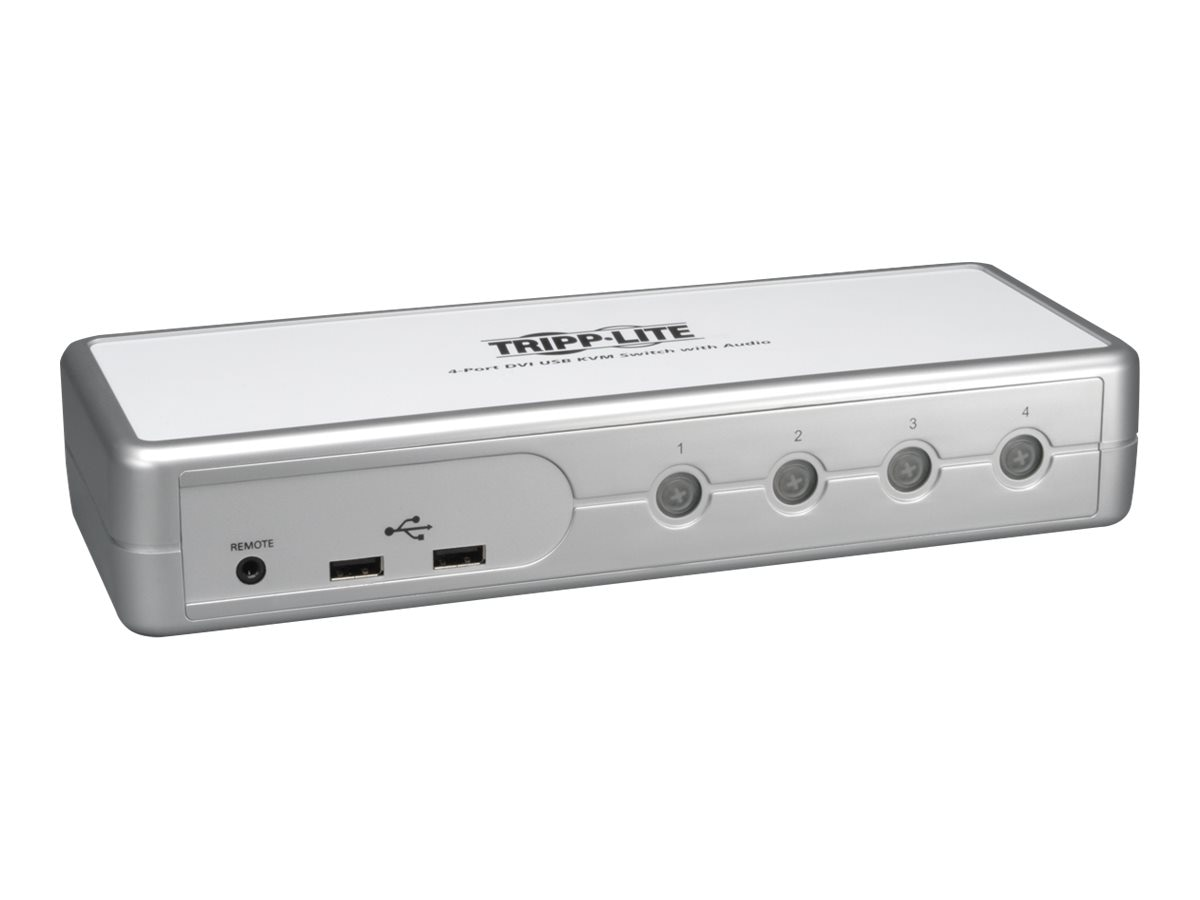 Tripp Lite Compact 4-port DVI USB KVM Switch w Audio, (8) Cables, B004-DUA4-K-R
