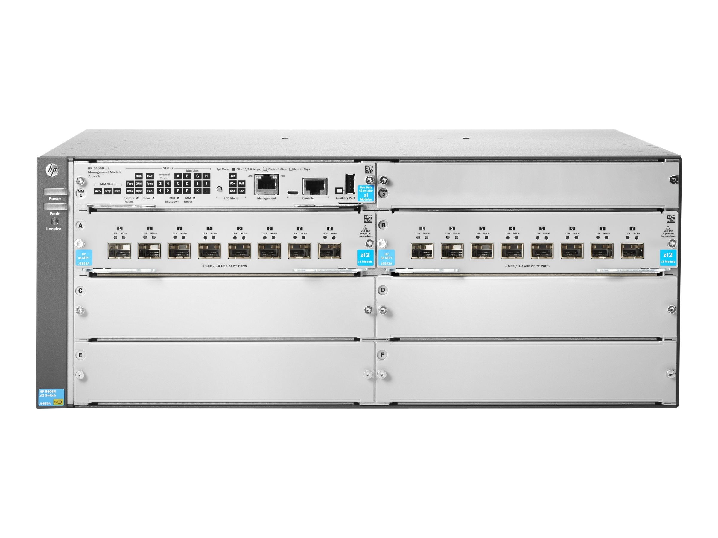 HPE 5406R 16-Port SFP+ v3 zl2 Switch (No PSU), JL095A, 20020391, Network Switches