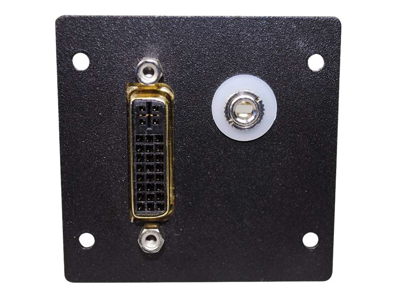 C2G Wiremold Audio Video Interface Plate (AVIP) DVI F F Barrel w  3.5mm Stereo with Solder Tabs