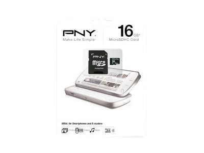PNY 16GB MicroSDHC Flash Memory Card, Class 4, P-SDU16G4-GE, 15972582, Memory - Flash