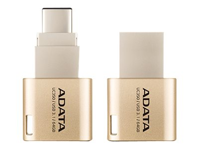 A-Data 64GB UC350 USB 3.1 Type C USB Type A Flash Drive, Gold