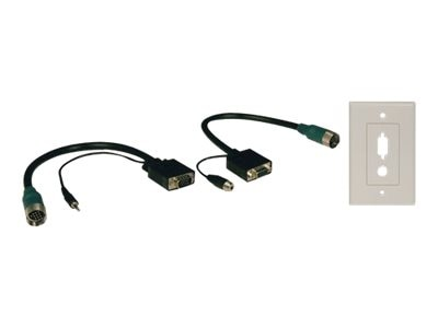 Tripp Lite Easy Pull Type-A Connectors, M F set of VGA with Audio and Faceplate, EZA-VGAAX-2, 8442604, Cables