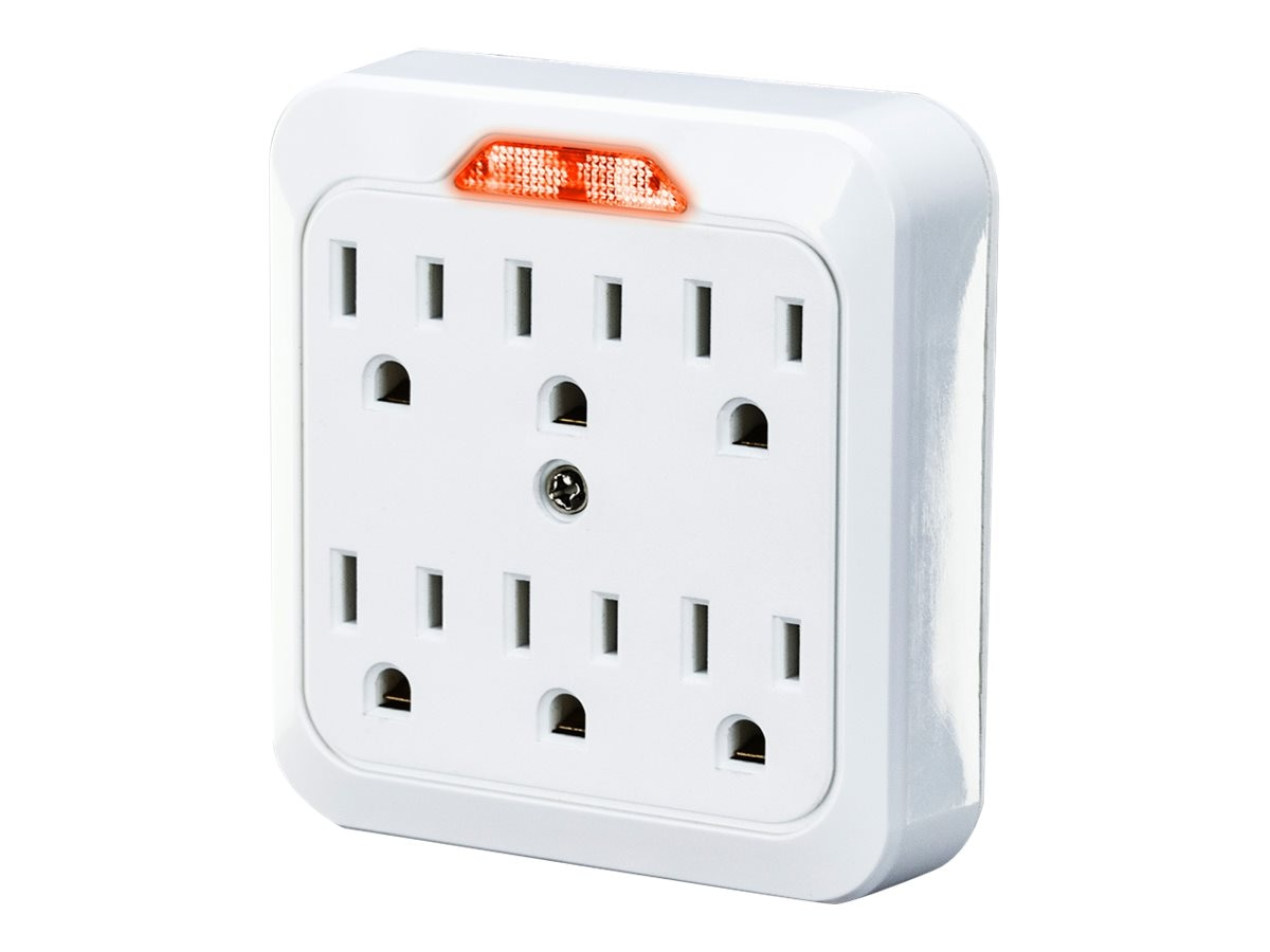 CyberPower 6-Outlet Guide Light Wall Tap