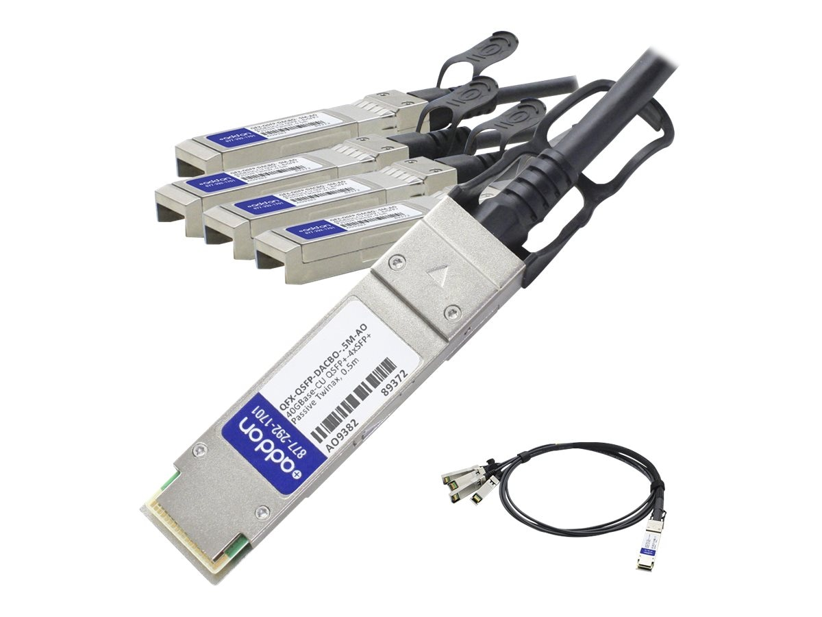 ACP-EP 40Gbase CR4 QSFP+ to 4x SFP+ Breakout Passive Copper Cable, 5m, QFX-QSFP-DACBO-5M-AO