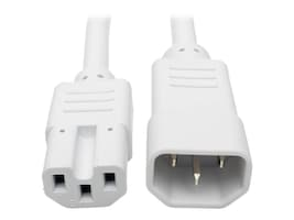 Tripp Lite Heavy Duty Computer Power Cord, 15A, 14AWG IEC-320-C14 to IEC-320-C15, White, 6ft, P018-006-AWH, 33094058, Power Cords