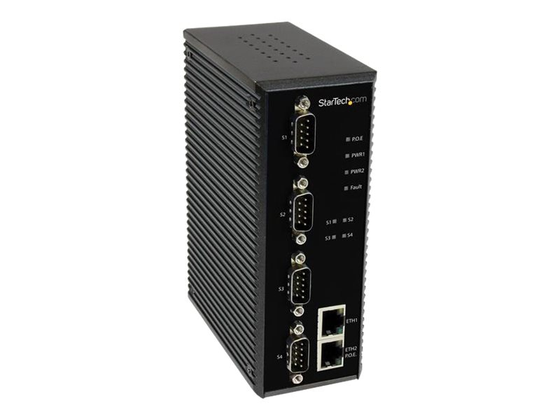 StarTech.com 4-Port Industrial RS-232 422 485 Serial-to-IP Ethernet Device Server,  PoE, (2) 10 100Mbps Ports, NETRS42348PD, 16881455, Remote Access Servers