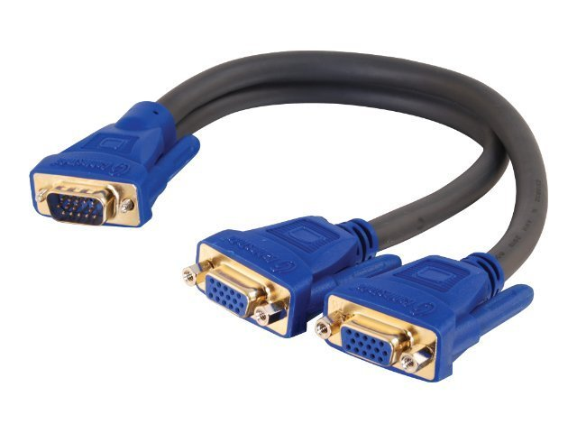 C2G Ultima HD15M to Dual HD15F SXGA Monitor Y-Cable, 1ft, 29610, 454942, Cables