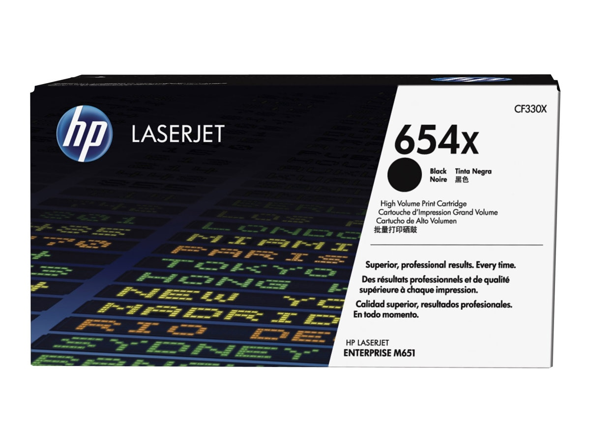 HP 654X Black High Yield Toner Cartridge, CF330X, 16850739, Toner and Imaging Components