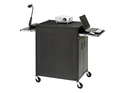 Bretford Manufacturing Projector Cabinet Cart with Dual Slide-out Shelves and 4-Outlet Electrical Assembly, TC15FF-BK, 7366460, Computer Carts