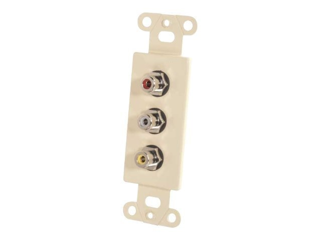 C2G Decora Style Yellow Red White Triple RCA Pass-thru Wall Plate Insert, Ivory