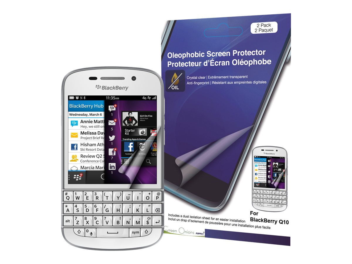 Green Onions Supply Crystal Oleophobic Screen Cover for Blackberry Q10, RT-SPBBQ1007, 15968671, Protective & Dust Covers