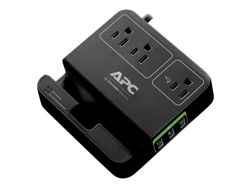 APC SurgeArrest Essential (3) Outlets w  (3) USB Charging Ports, Black, P3U3B, 17915442, Surge Suppressors