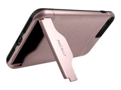 Macally Dual Layer Protective Case w  Kickstand for iPhone 7, Rose Gold, KSTANDP7MRS