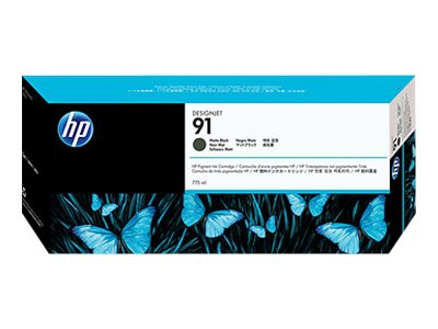 HP 91 Matte Black Pigment Ink Cartridges (775 ml), C9464A, 7625716, Ink Cartridges & Ink Refill Kits