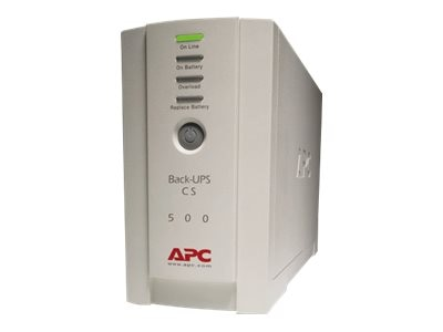 APC Back-UPS CS 500VA300W 120VAC Tower UPS Serial (3) 5-15R Outlets, BK500
