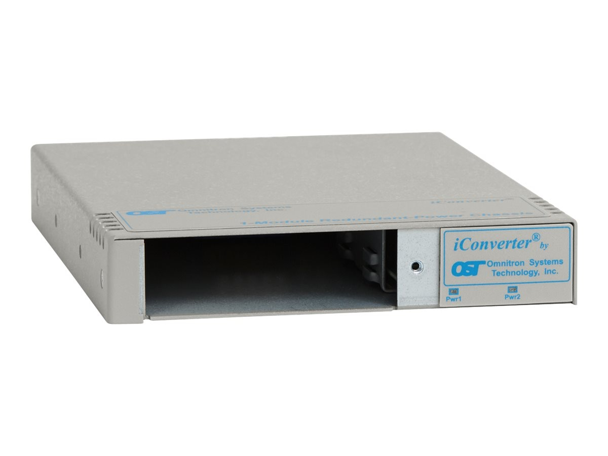 Omnitron iConverter 1-Module Redundant  Power Chassis with 2 US AC Power Supplies, 2 UTP, 8246-111, 7797382, Network Transceivers