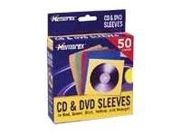 Memorex CD DVD Color Sleeves (50-pack), 01965, 9570077, Media Storage Cases