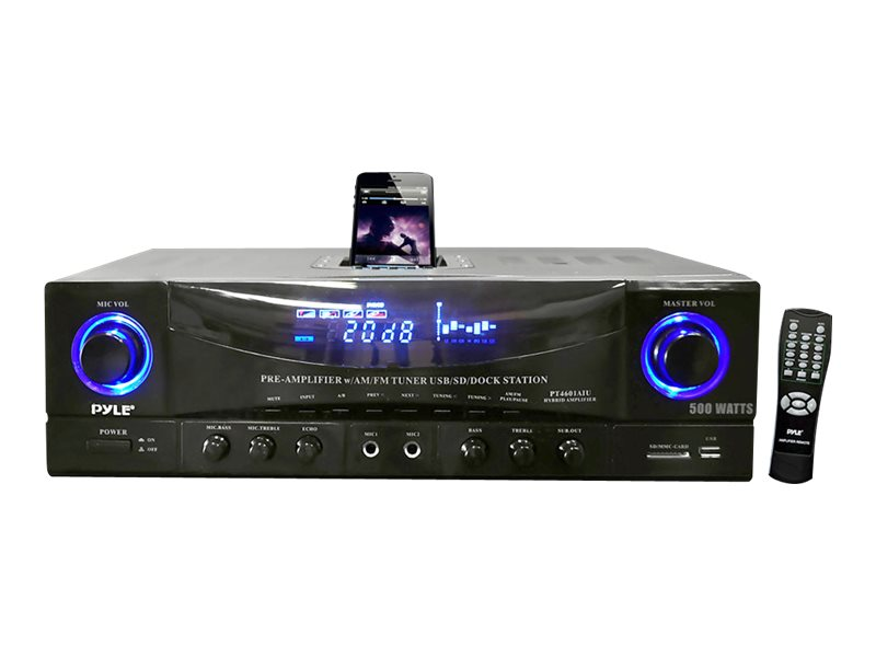 Pyle 500 Watt Stereo Receiver AM-FM Tuner USB SD iPod Docking Station & Subwoofer Control
