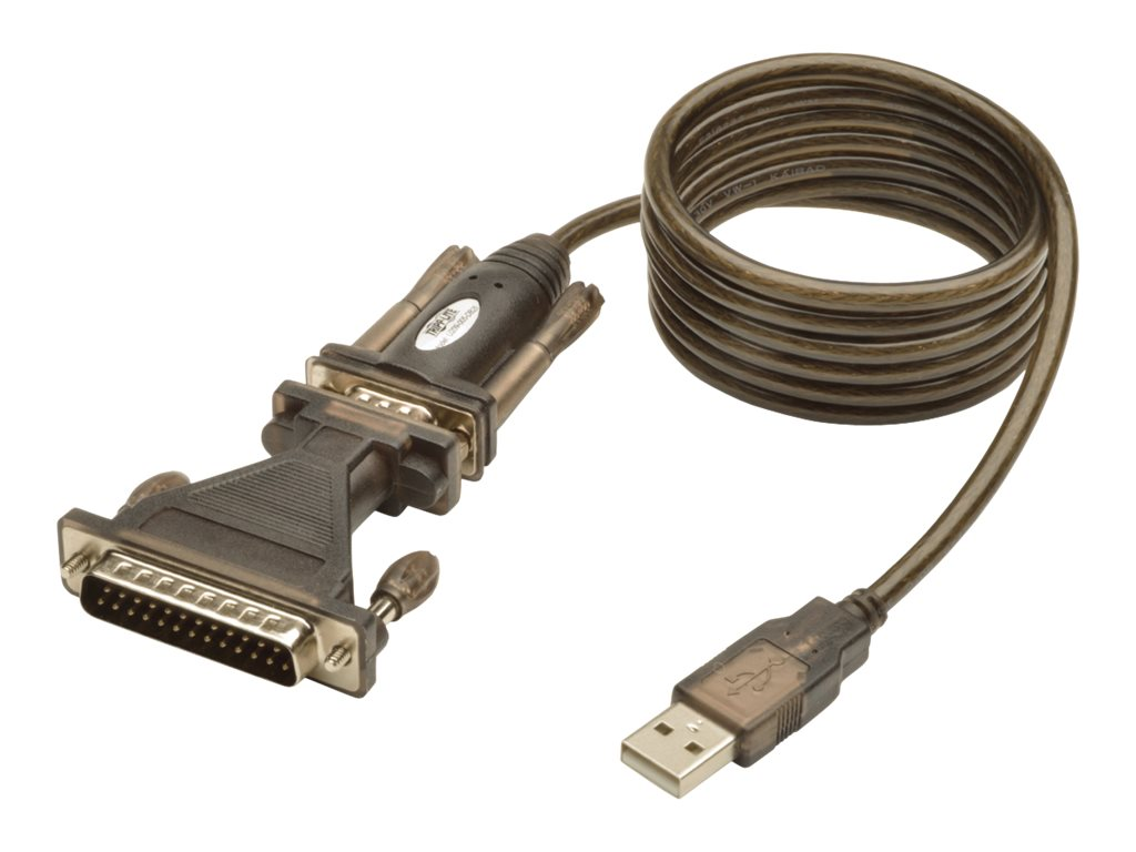 Tripp Lite USB Type A to DB25 M M Serial Cable Adapter, Black, 5ft, U209-005-DB25