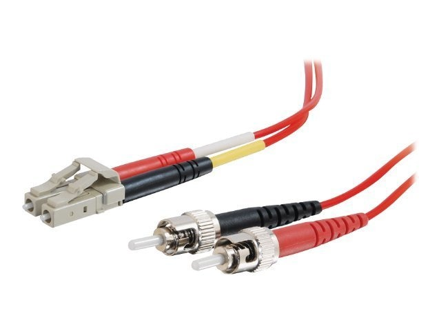 C2G LC-ST 62.5 125 OM1 Multimode Duplex Fiber Optic Cable, Red, 3m