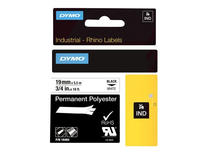 DYMO RhinoPRO Permanent Polyester Tape 3 4 x 18', 18484