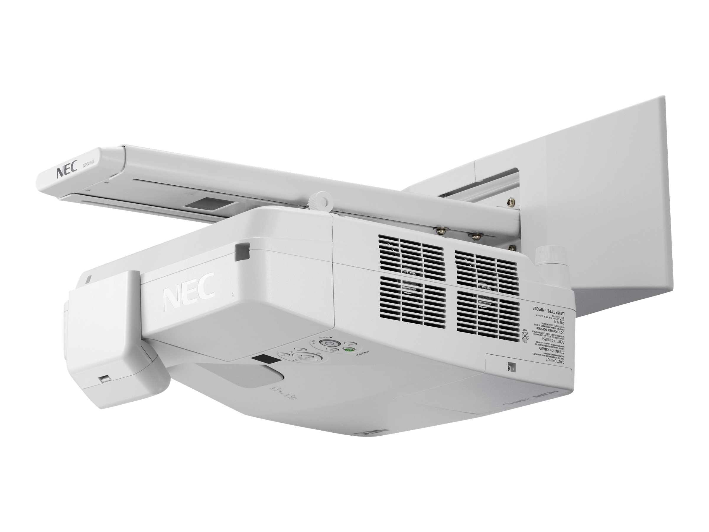 NEC UM351W Ultra Short Throw LCD Projector, 3500 Lumens, White with Interactive Module, Wall Mount, Pens