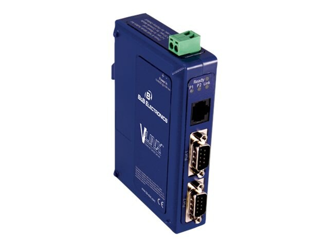 Quatech Port Ethernet Serial Server, (2) Serial DB9, (1) 10 100 Ethernet RJ45, VESR902D