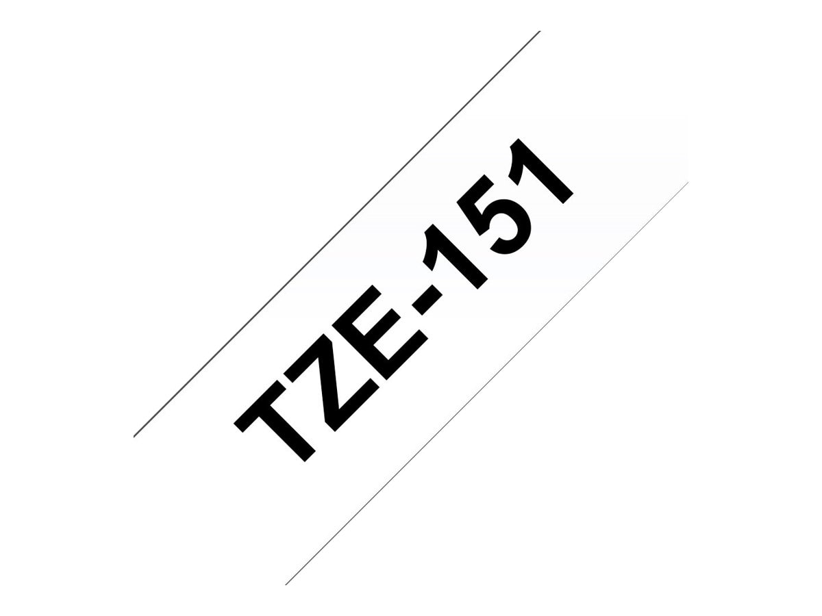 Brother 0.94 x 26.2' TZe151 Black on Clear Tape for P-Touch 8m, TZE-151