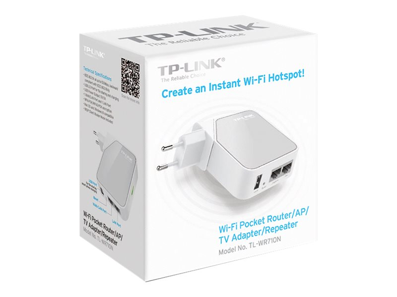 TP-LINK 150Mbps Wireless N Mini Pocket Router, Repeater, Client, 2 LAN Ports, USB Port for Charging Storage, TL-WR710N, 16387772, Wireless Routers