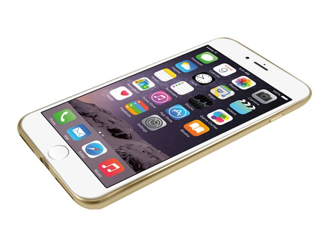 Macally Ultra Thin Soft Transparent Case w  Matte Gold Trim for iPhone 7 Plus