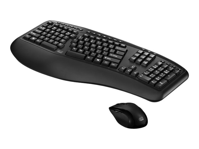 Adesso Tru-Form Media 1500 Wireless Ergonomic Keyboard & Mouse 2.4GHz RF Wireless, WKB-1500GB